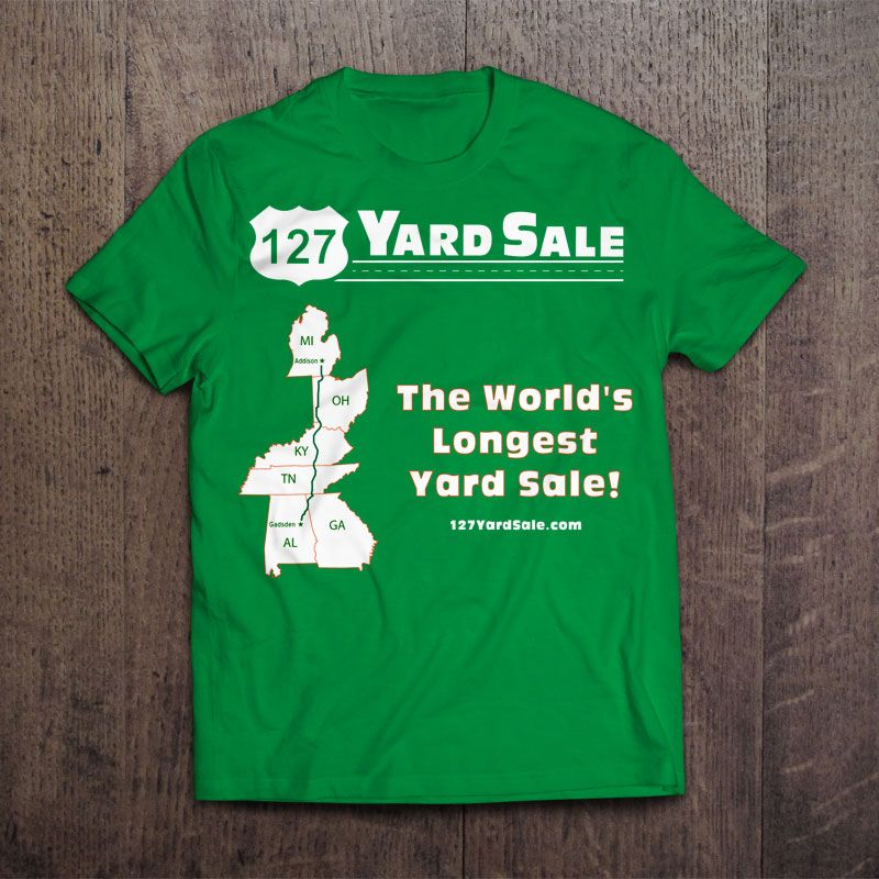 This t-shirt features the 127 Yard Sale logo, a map of the