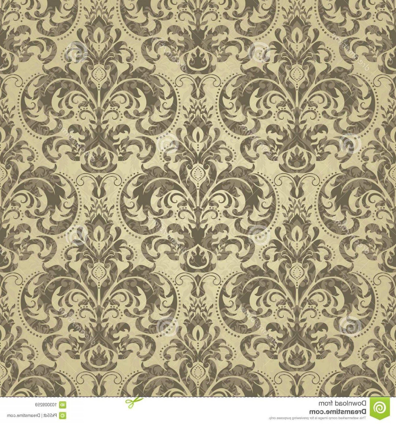 Distressed Damask Vintage Vector Floral Pattern Wallpaper Baroque Damask Gold Color Floral Patter Floral Pattern Wallpaper Pattern Wallpaper Vector Background