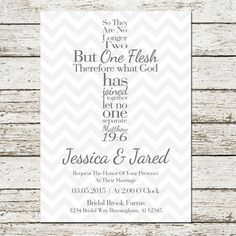 Bible Verse Cross Wedding Invitation Christian Matthew 19 6 Chevron ...
