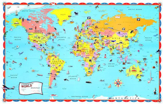 childrens world wall map poster mural educational