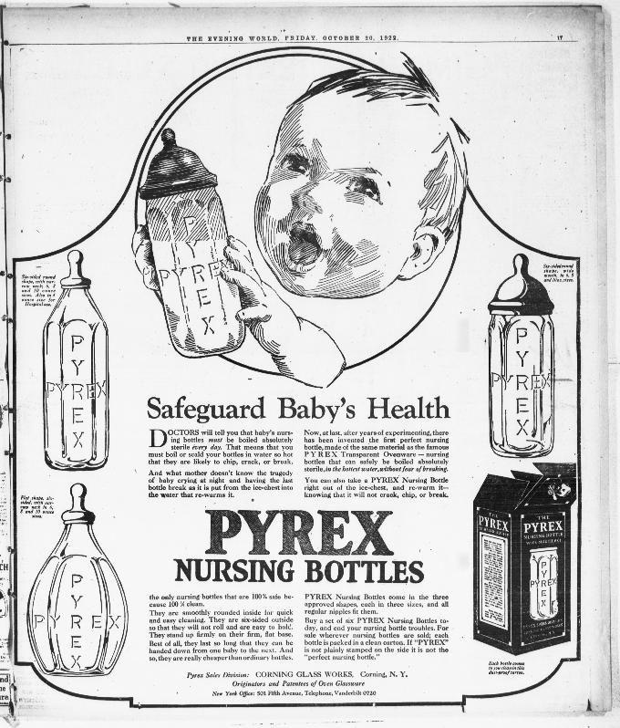 Pyrex Nursing Bottles October 20, 1922