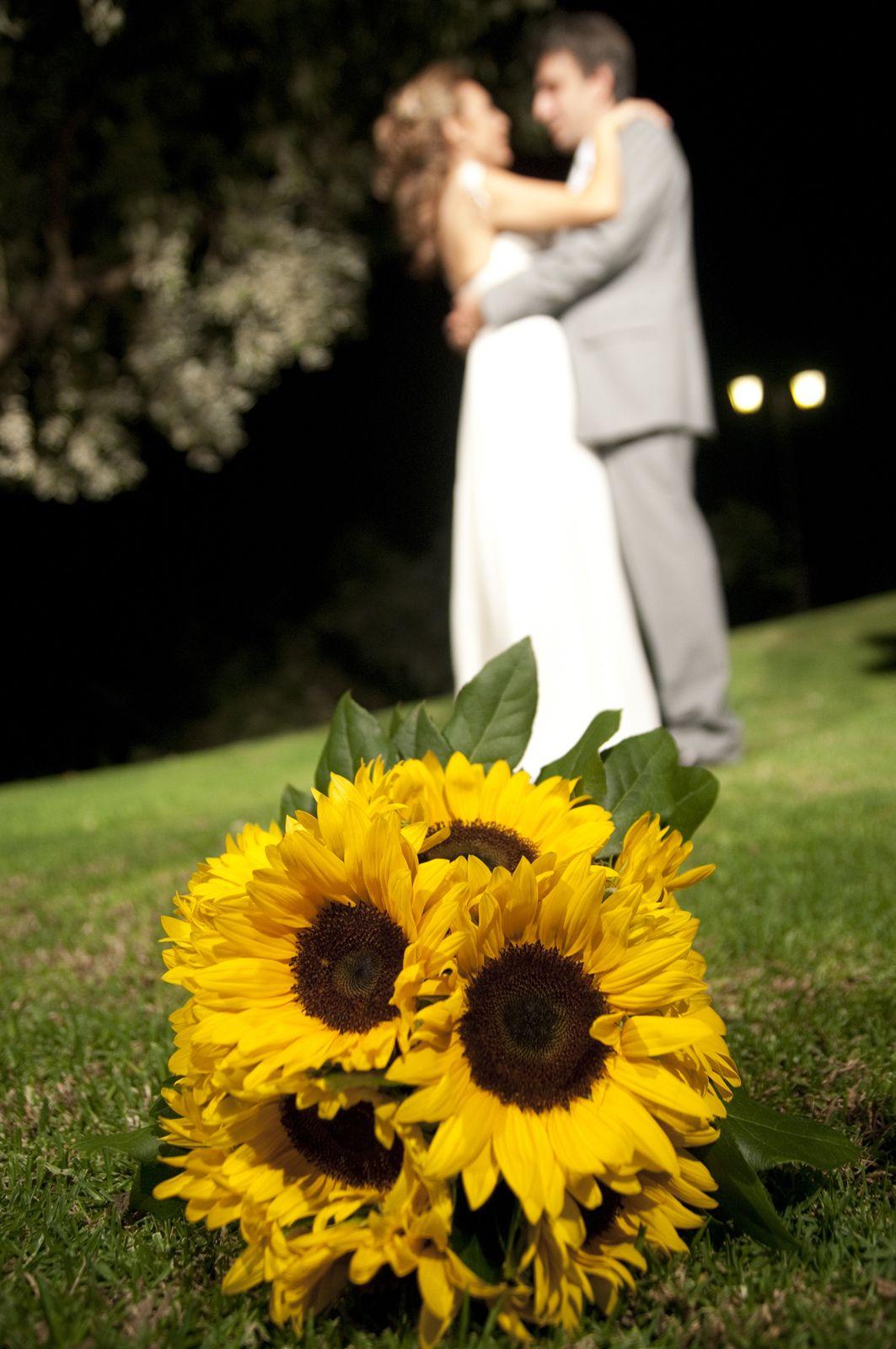 Bridal sunflower bouquet.