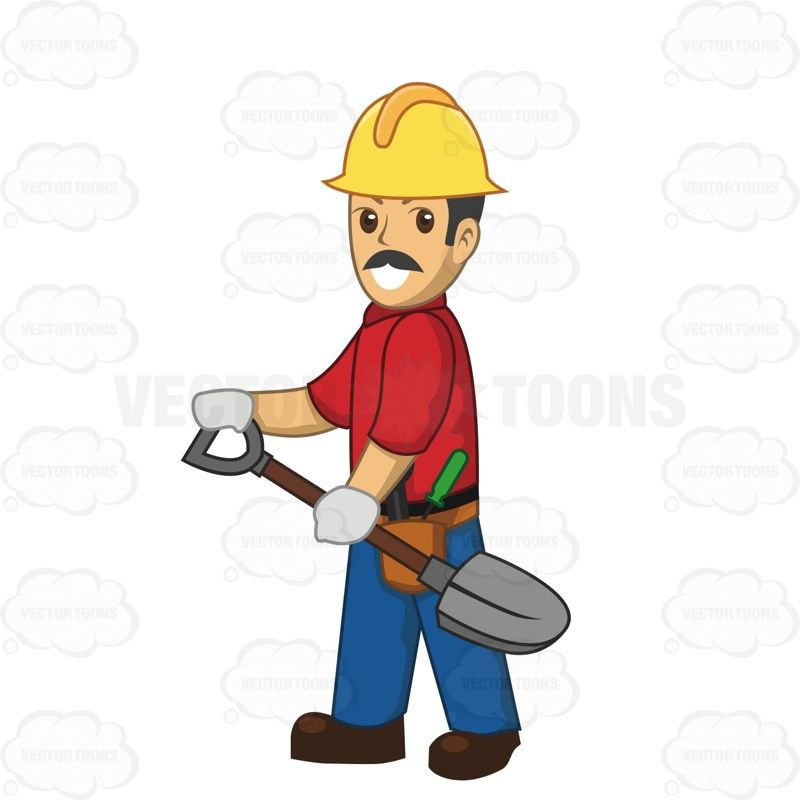 Male Construction Worker Carrying A Shovel Construction worker - best of blueprint construction clipart