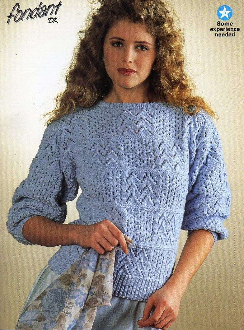 Womens Sweater Knitting Pattern Pdf Ladies Lacy Patchwork Jumper 32