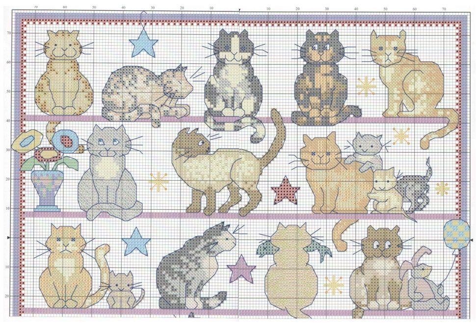 Схема вышивки крестом черные коты