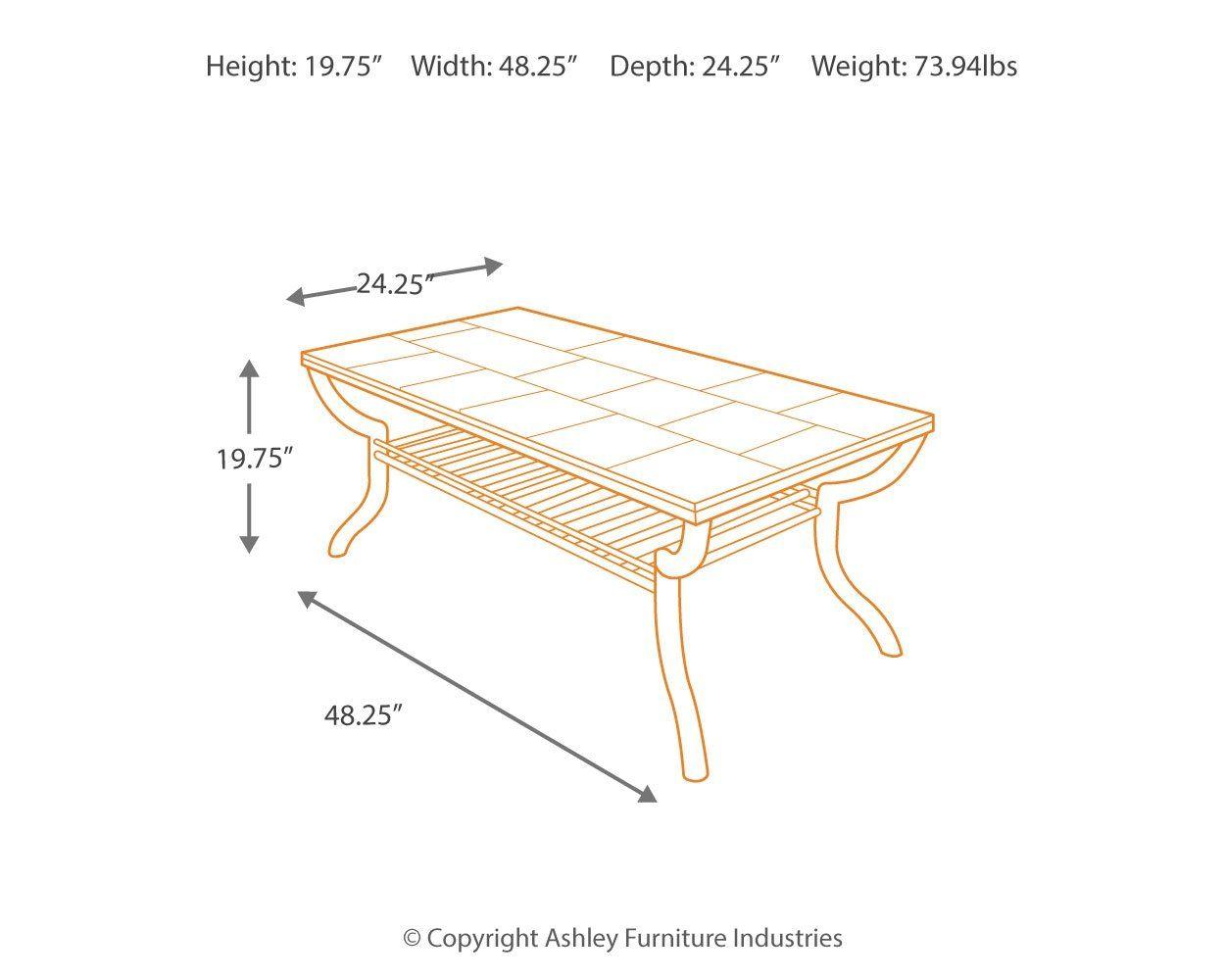 Ashley Furniture Signature Design Antigo Coffee Table Slate Top