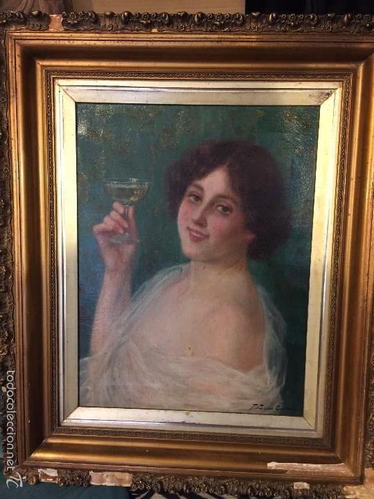 MAGNIFICO RETRATO DE DAMA MODERNISTA, FIRMADO F. SANS CASTAÑO (Arte - Pintura - Pintura al Óleo Moderna siglo XIX)