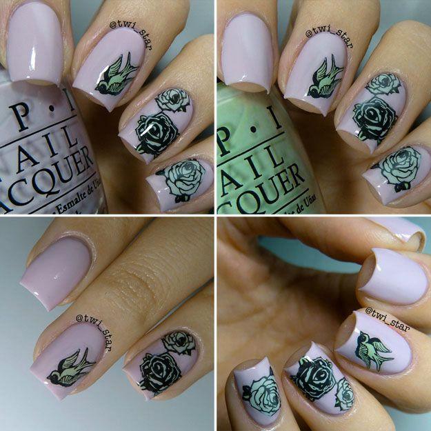 Opi Steady As She Rose Moyou London Rose Stamping Nail Art Opi