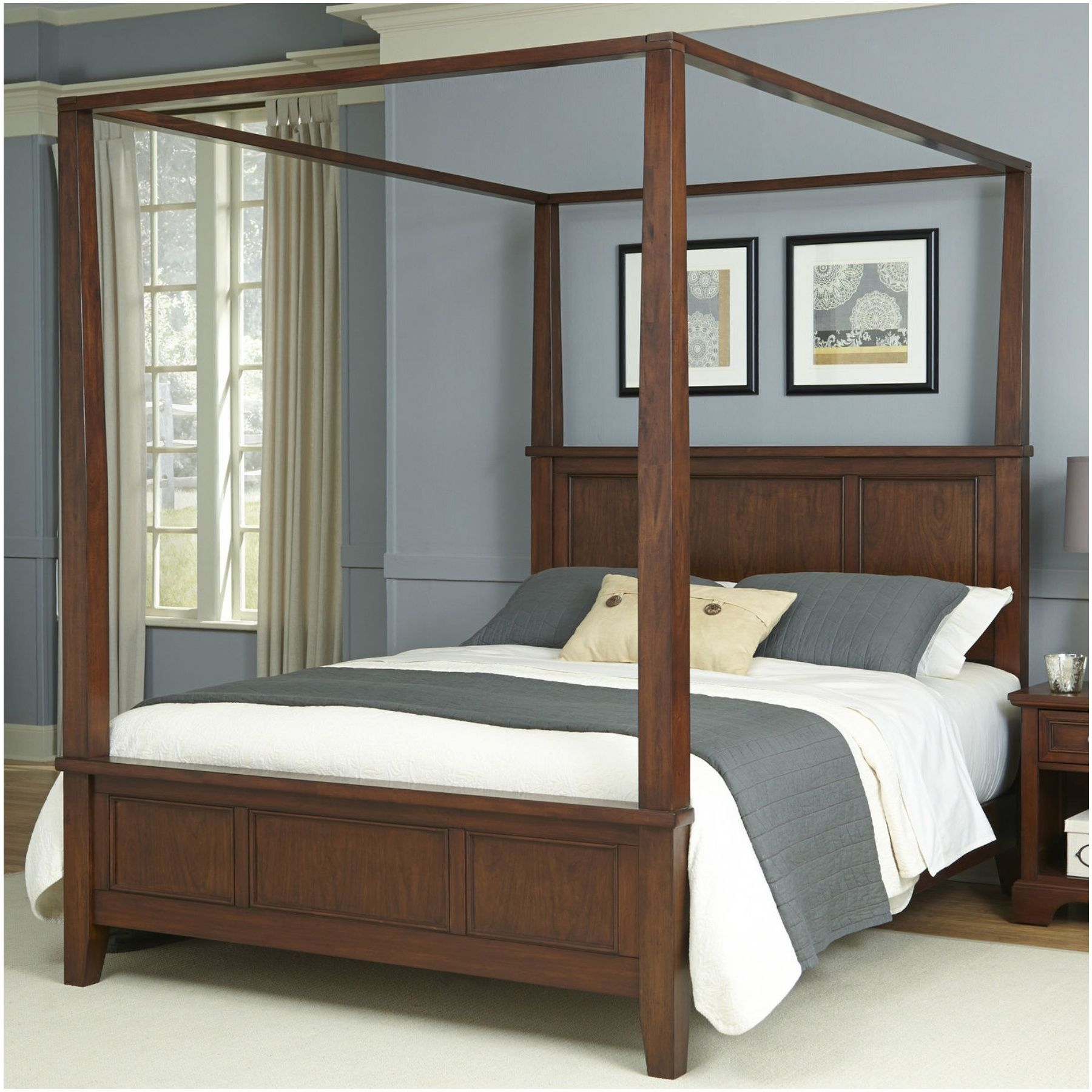 Wood Canopy Bed Frame Full Size Wooden Home New Arrivals Modern