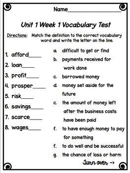 Wonders Vocabulary Tests 5th Grade Unit 1 Week 1 FREEBIE ...