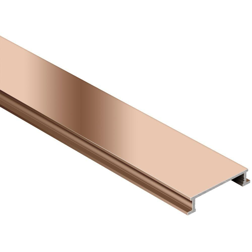 Schluter Designline Polished Copper Anodized Aluminum 1 4 In X 8 Ft 2 1 2 In Metal Border Tile Edging Trim Border Tiles Bronze Tiles Tile Edge Trim
