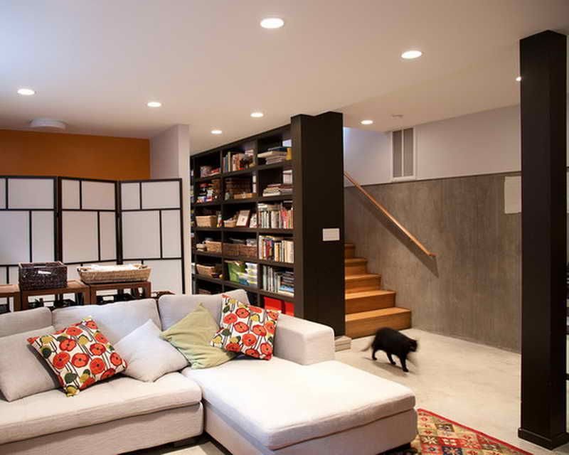 basement ideas for family. Awesome Basement Family Room Dark Color Book Shelf White Letter L Sofa Frame Modern Partition Recessed Can Lamp Ceiling Ideas For E