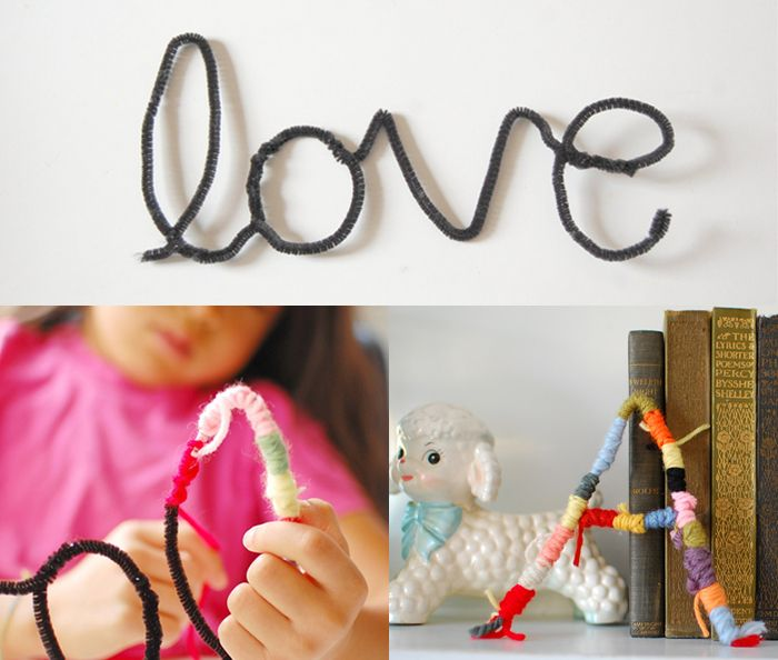 Kids' craft: pipe cleaners + yarn = fun words and letters