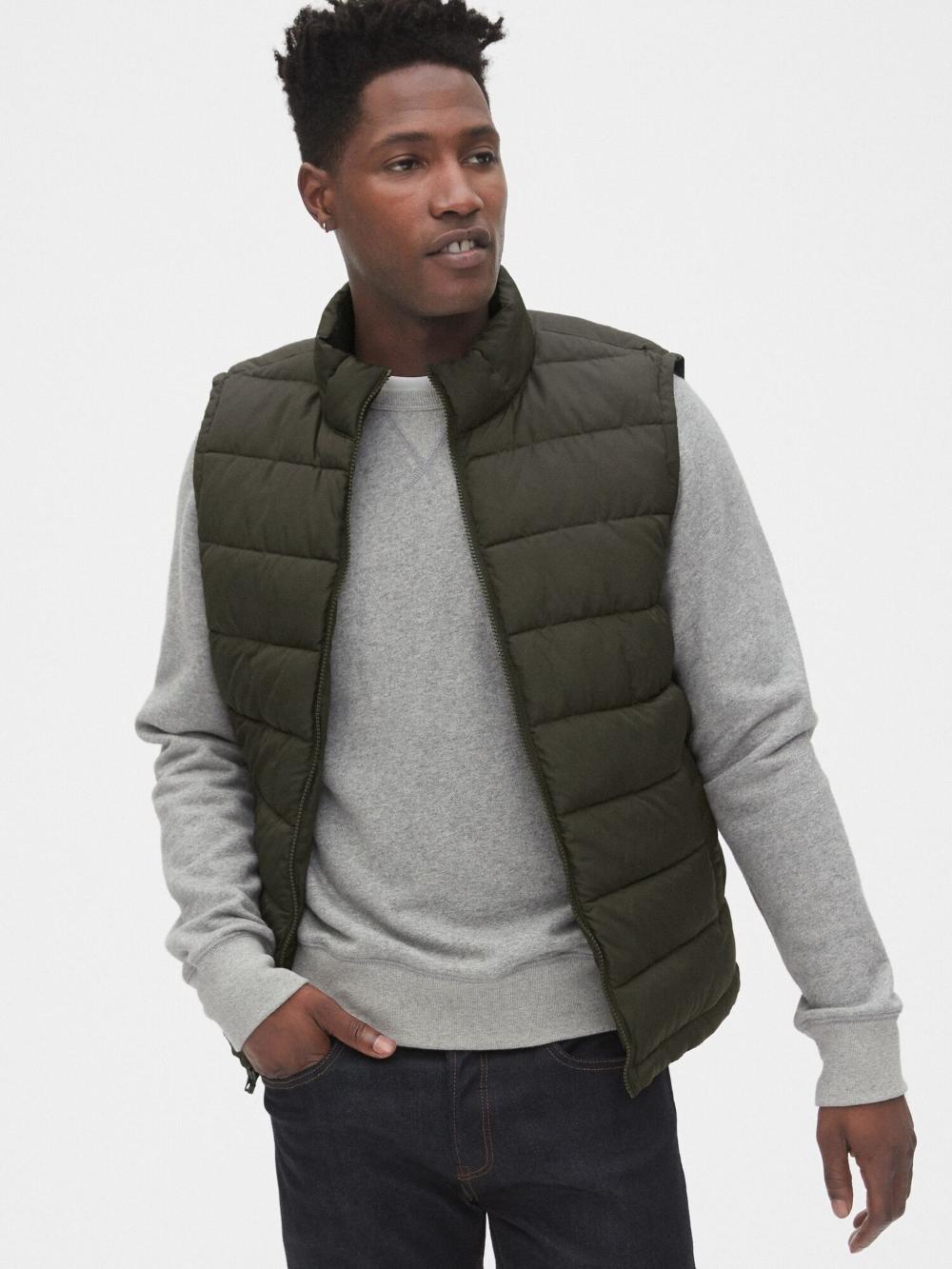 Shop Women Men Maternity Baby Kids Clothes Gap Gap Uk Mens Outfits Puffer Vest Microfleece [ 1333 x 1000 Pixel ]