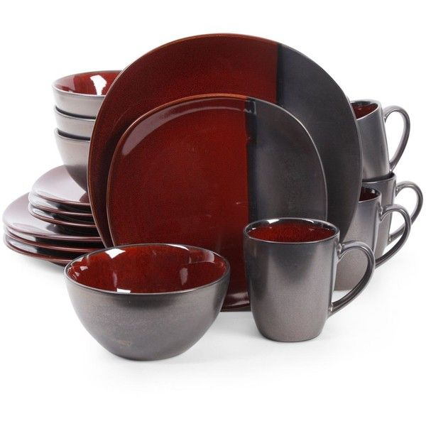 Gibson Elite Volterra Red 16-Piece Dinnerware Set ($60) ❤ liked on Polyvore  sc 1 st  Pinterest : gibson square dinnerware sets - pezcame.com