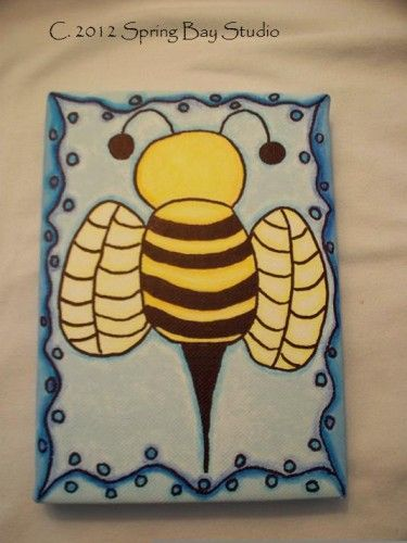 Drifting Honey Bee Mixed Media Painting OOAK