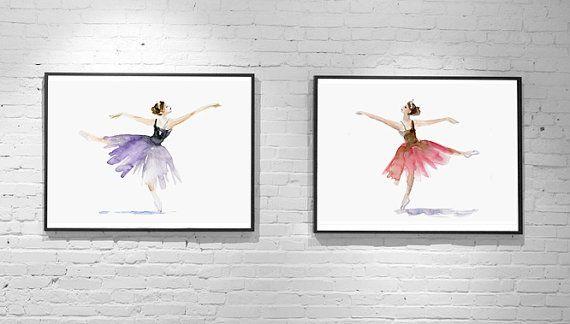 Set van 2 Ballet dansers  Giclee print  Ballet door Zendrawing