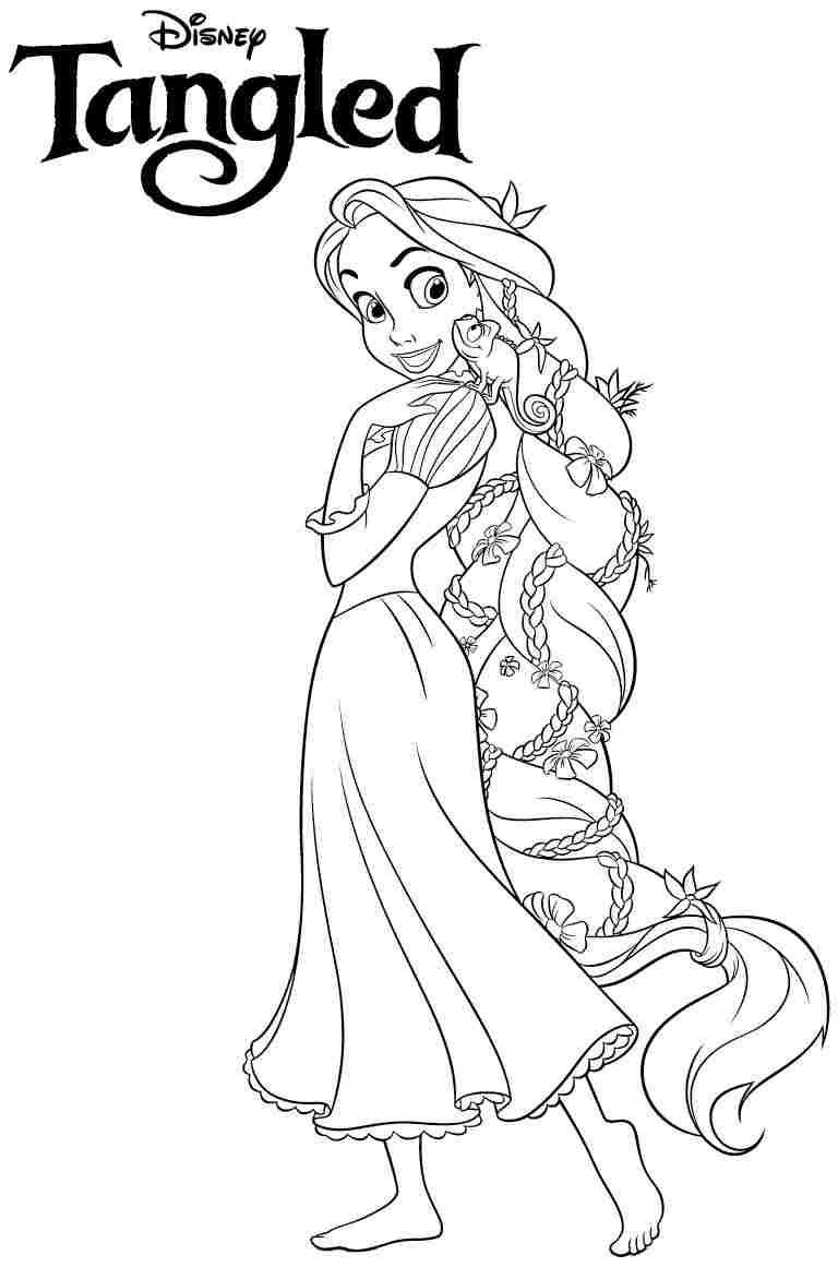 Free coloring disney princess pages - Disney Princess Tangled Rapunzel Coloring Pages Free Printable For