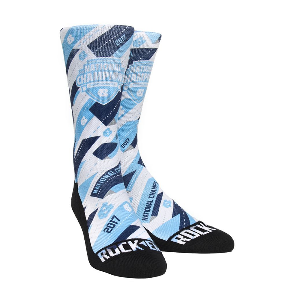 Rock 'Em Elite UNC Tar Heels - Banner Slash National Champions Licensed S/M Crew Socks