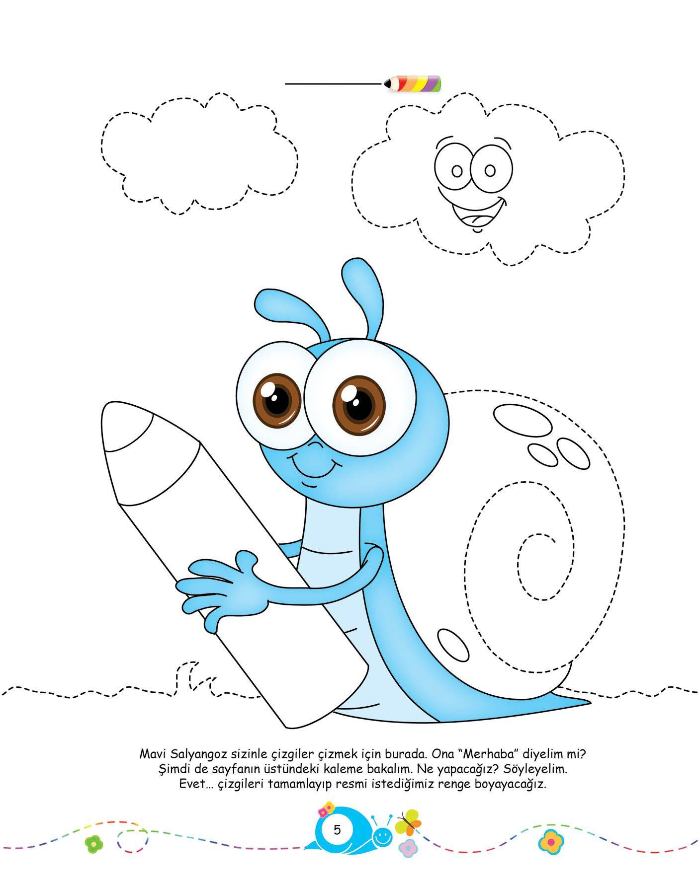 Okul öncesi Konu Anlatım Mavi Salyangoz Ile çizgiler çiziyorum 48