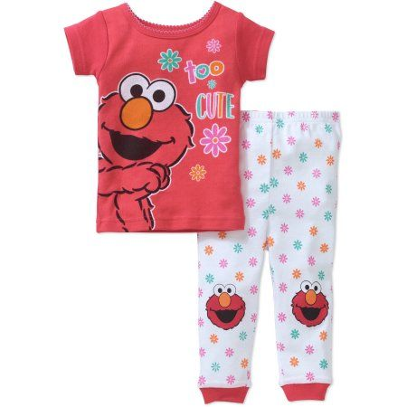947cd5d74 Sesame Street Newborn Baby Girl Elmo Cotton Tight-Fit Pajamas 2pc ...