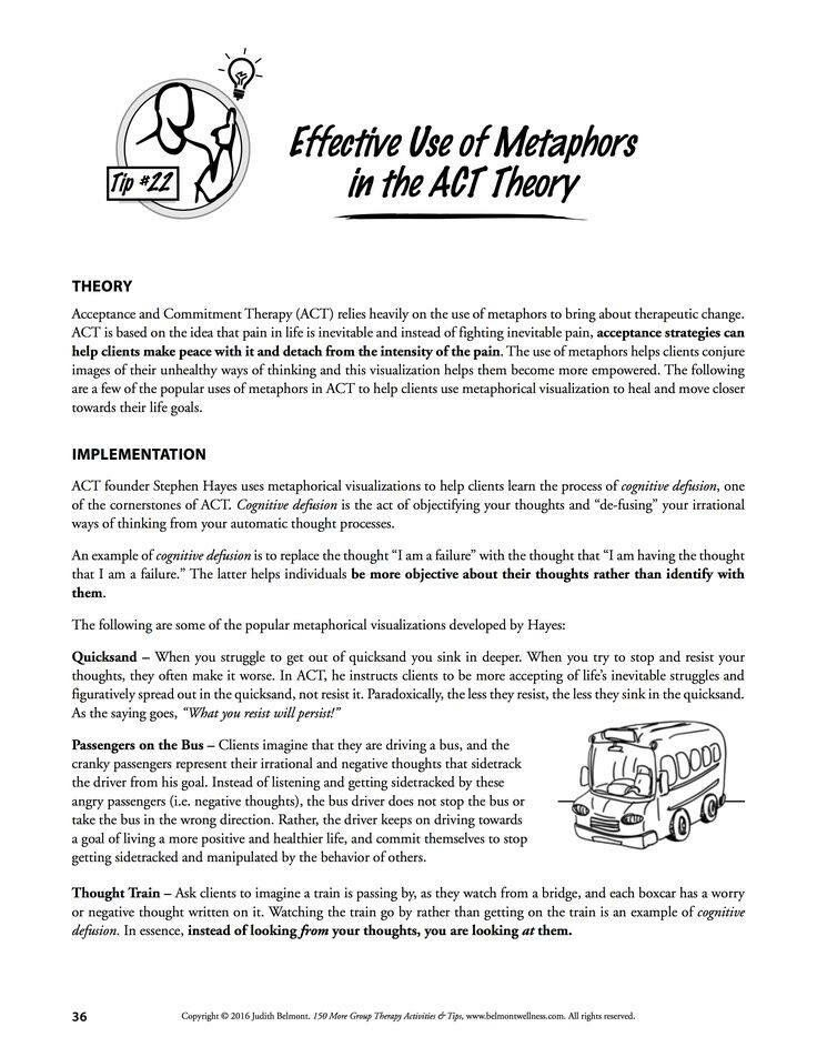Metaphors in ACT   Group therapy activities, Clinical ...
