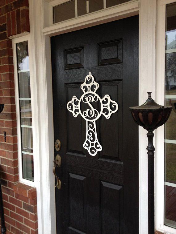 Monogram Wreath Cross Monogram Door Hanger Monogrammed Etsy Metal Monogram Door Hanger Wreath Wall Art Monogram Door Wreath