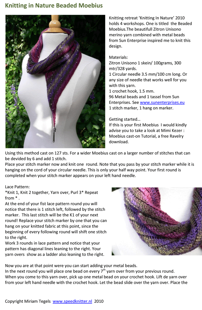 Knitting In Nature Beaded Moebius - a free pattern | Knitting ...