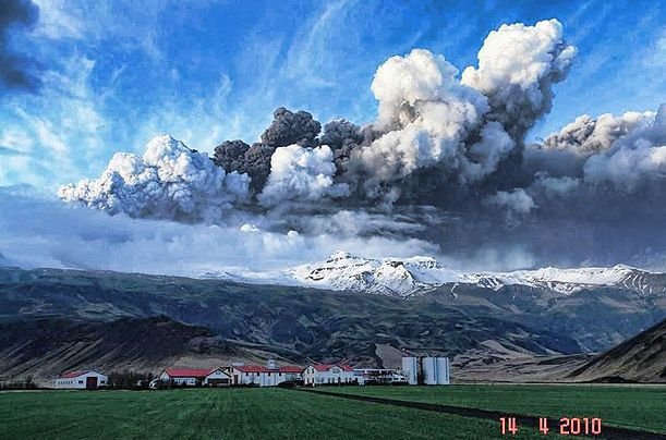 Volcanic Eruption in Iceland. Photograph by Whitehotpix / Zumapress.com. The ash spewed by the volcano on Eyjafjallajö kull glacier clouded the skies over the U.K. and western Europe, shutting down air travel for six days in April. This photograph, made by an amateur photographer, captures the scene over the glacier in the first few hours of the volcano's increased activity.