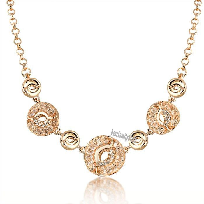 c66b232cde5 Fashion Mesh Gold Stardust Swarovski Crystal Necklace Wedding Women Jewelry  N563  bearfamilybirth  Chain