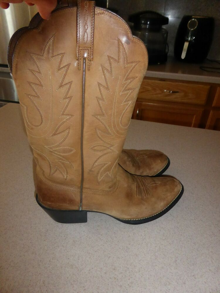 909ff6cb1c4 Ariat ATS Brown Leather Cowboy Western Womens Boots Shoes sz 9B ...