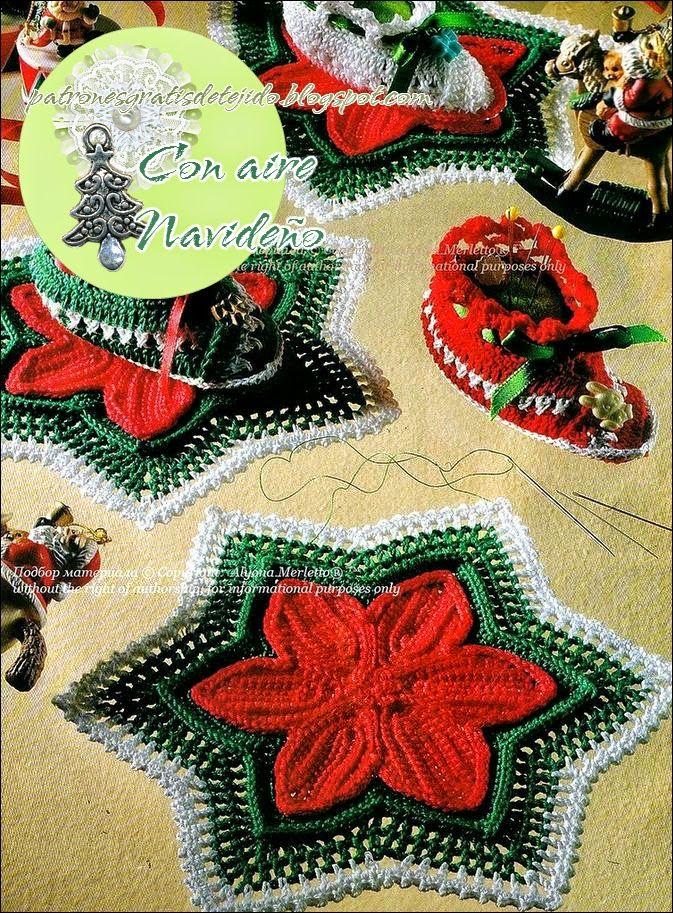 Crochet+y+dos+agujas:+Adornos+navideños+para+la+mesa:+Estrellas+y+ ...