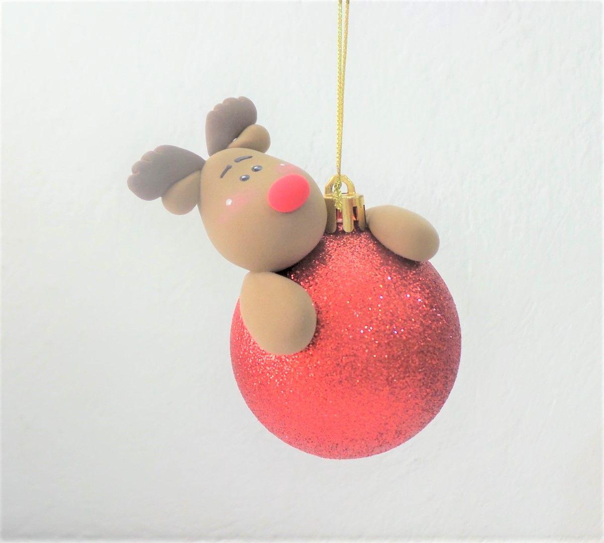 Esfera Reno Navidad De Arcilla Polimérica Manualidades Bricolaje De Adornos De Navidad