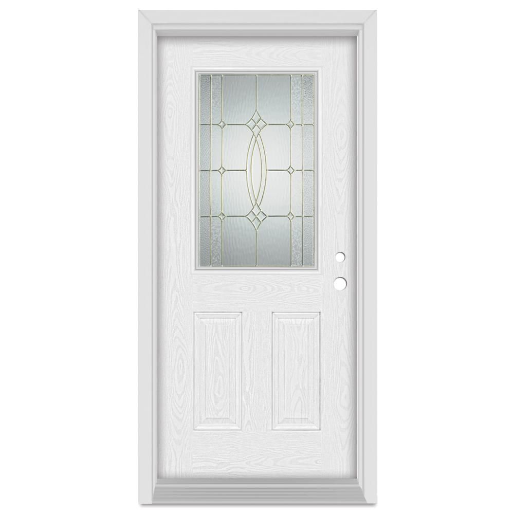 Stanley Doors 32 In X 80 In Diamanti Classic Left Hand 1 2 Lite Brass Finished Fiberglass Oak Woodgrain Prehung Front Door Fwo1534s S32l Decorative Hinges Wood Grain Entry Doors