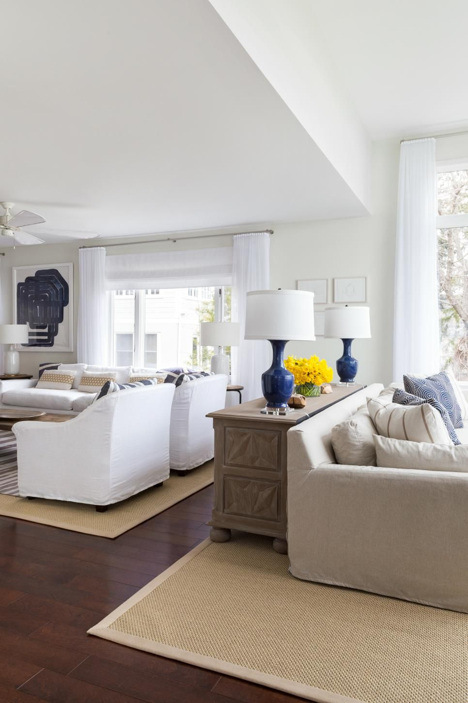 The formal living room is separated into two seating areas for Living room 2 seating areas