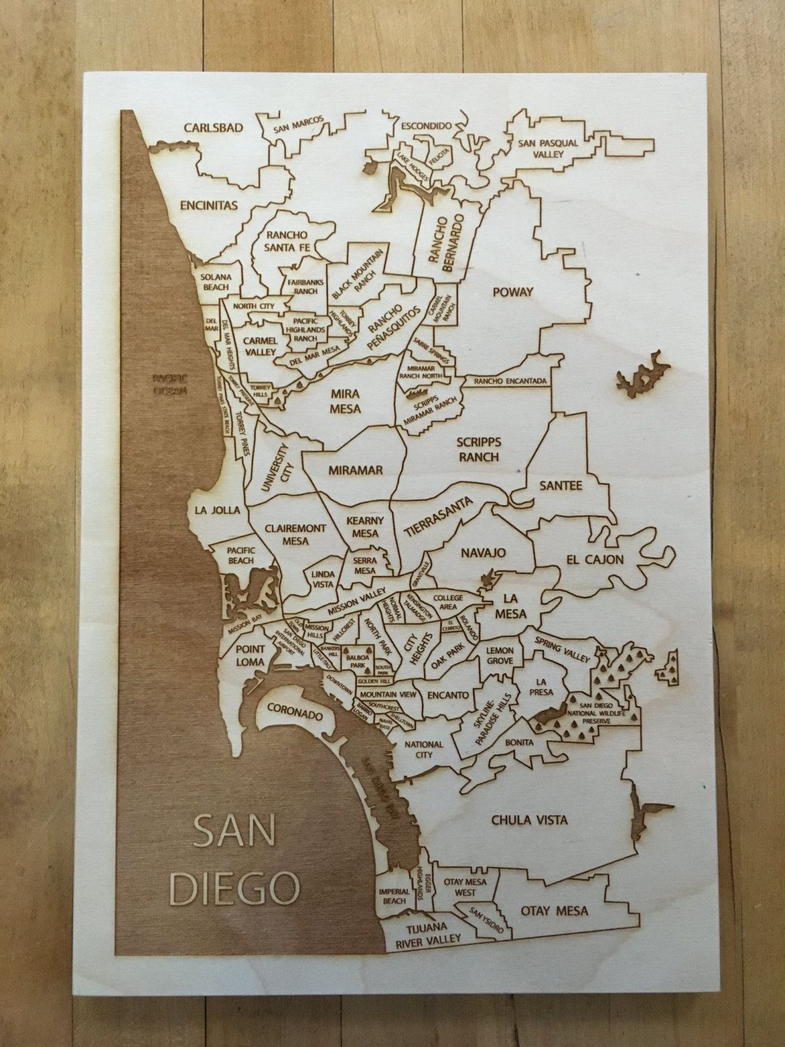 San diego map etched wood neighborhood map new home decor x