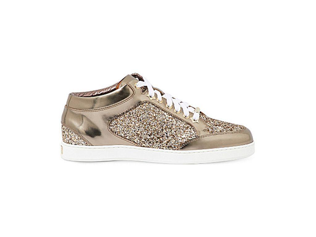 b28adfb5a81 JIMMY CHOO Miami metallic-leather and glitter sneakers