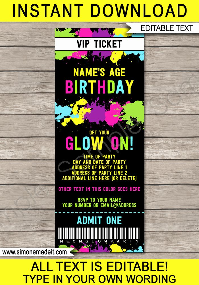 New Admit One Ticket Invitation Template in 2020 Party
