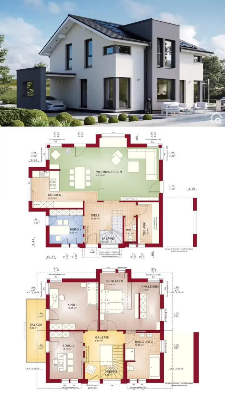 Modernes Haus Design mit Satteldach & Carport bauen Einfamilienhaus Grundriss 170 qm Fertighaus