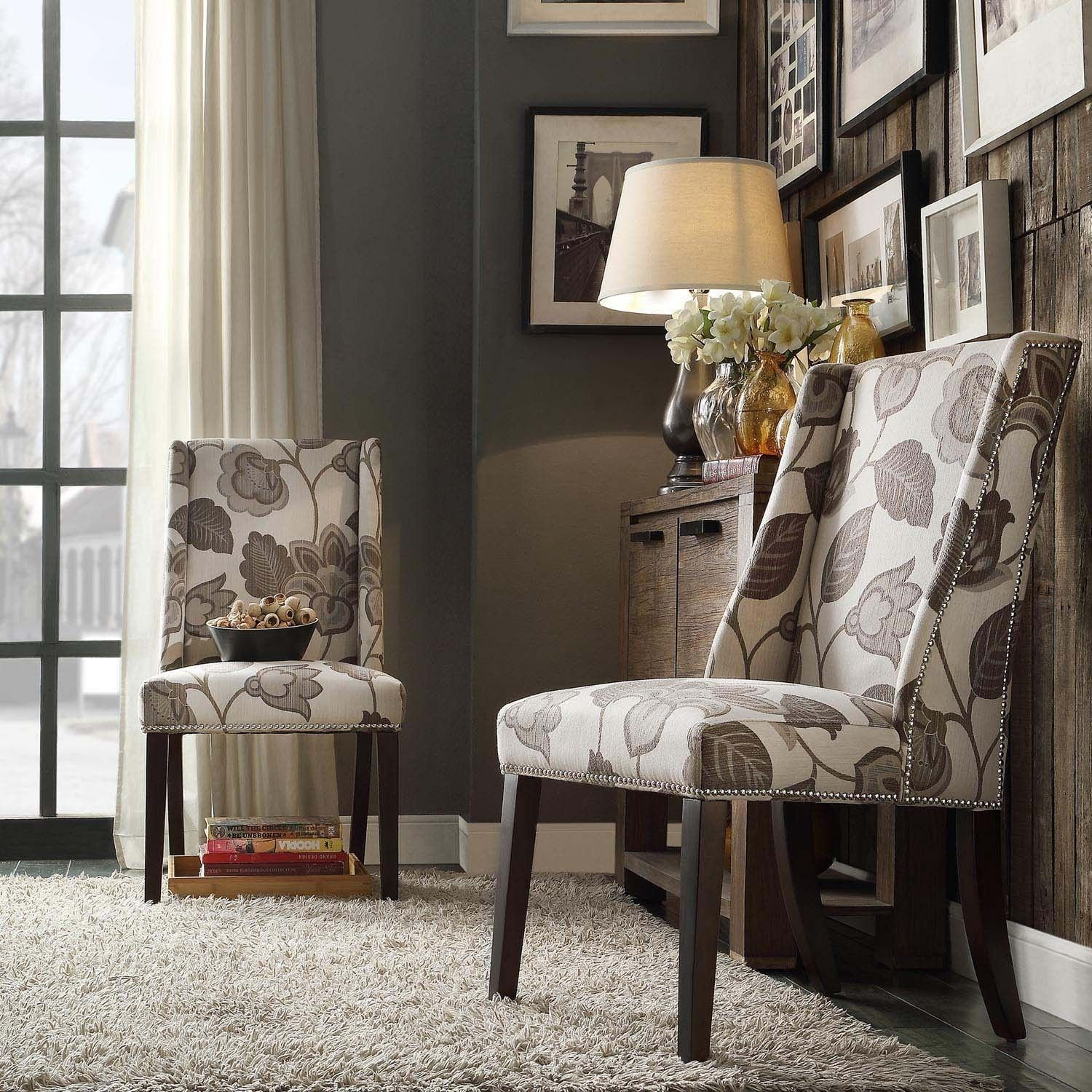INSPIRE Q Geneva Grey Floral Wingback Hostess Chairs (Set of 2) | Overstock.