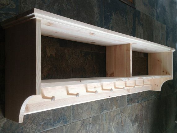 Wide Hat Coat Rack With Shelf Wall Mounted Solid Wood Display Shelves Wooden