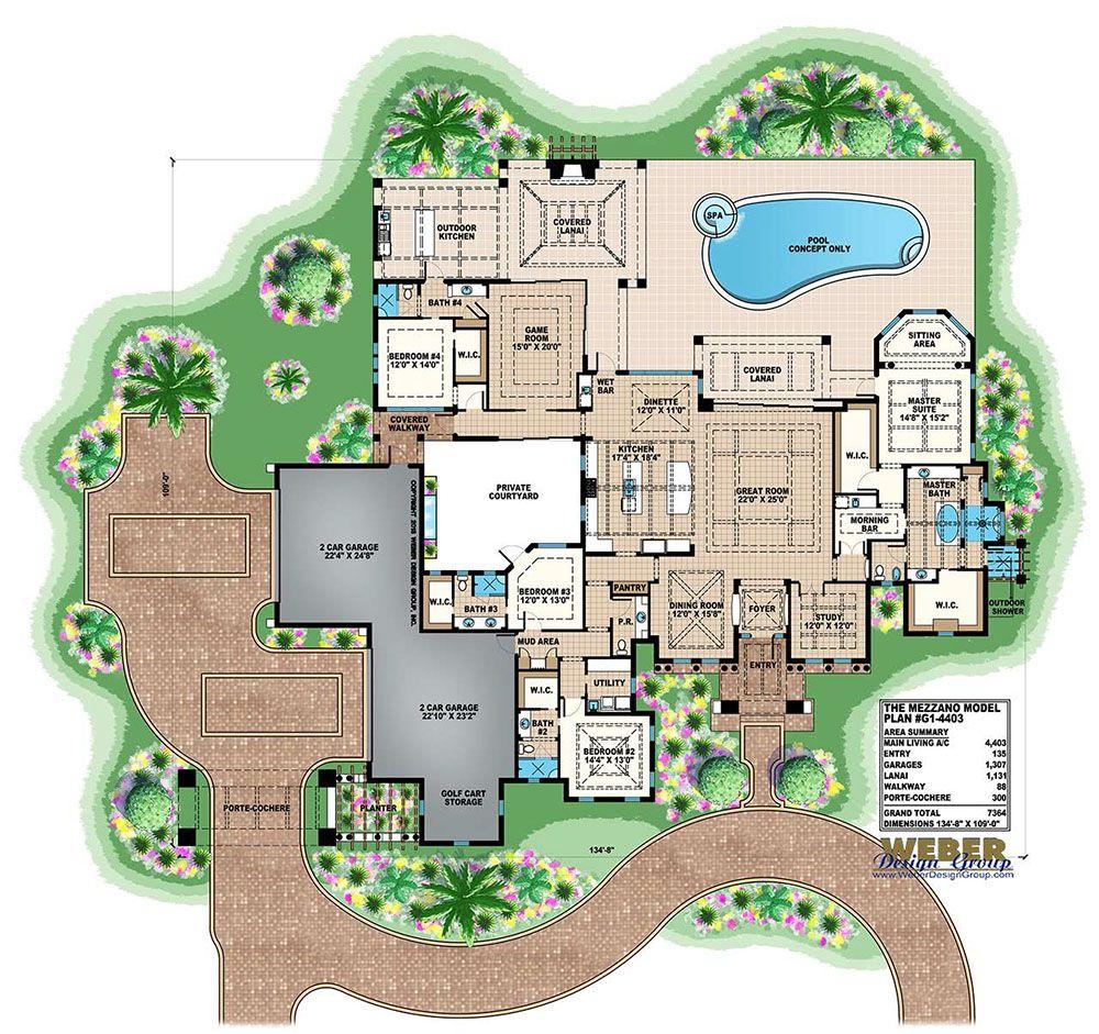 One Story Mediterranean House Plans: Mediterranean House Plan: 1 Story Luxury Home Floor Plan