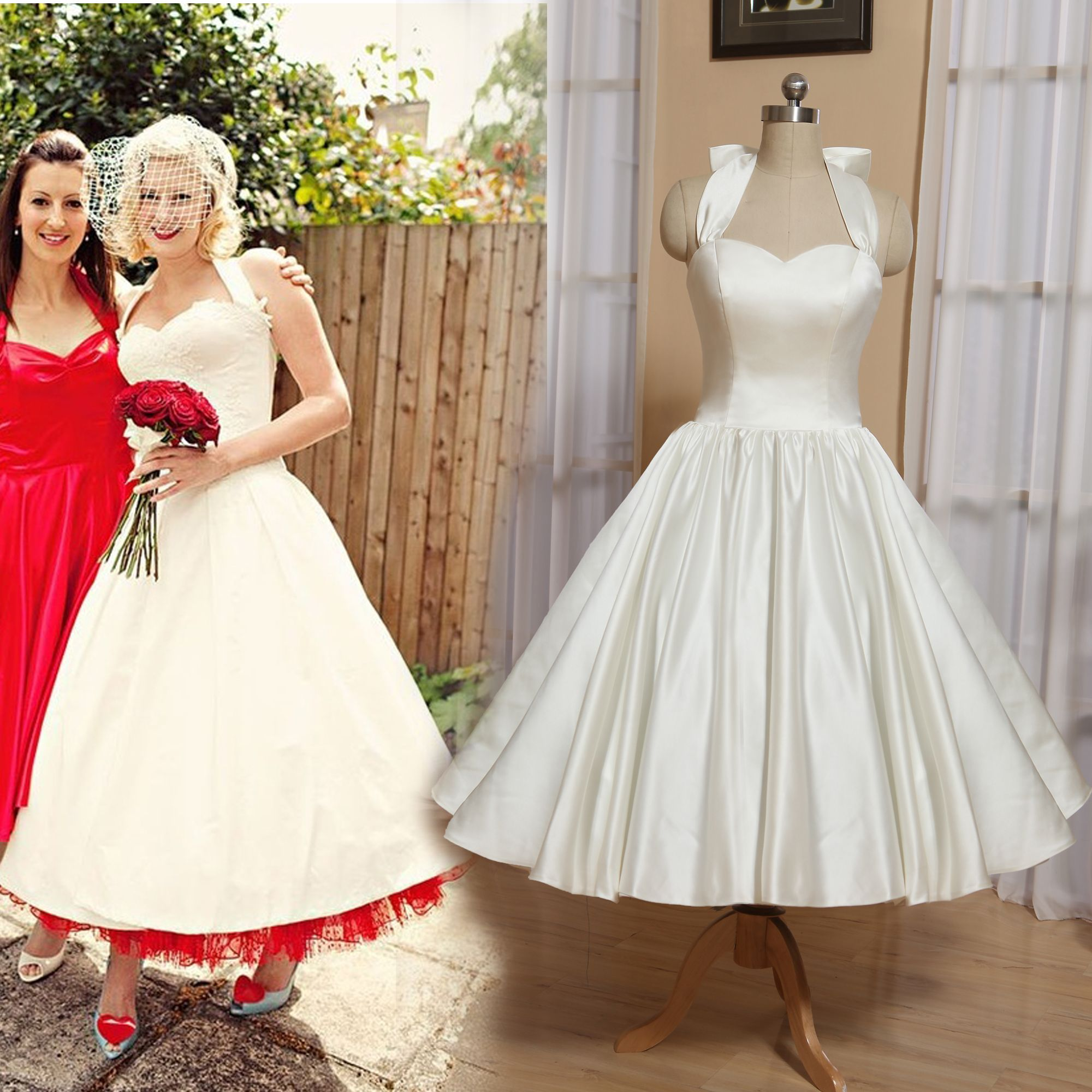 Short Wedding Dresses 50s Wedding Dress Garden Tea Length Bridal Gowns Halter Neck Vintage Inspired Wedd Wedding Dresses 50s Lace Bridal Gown Bow Wedding Dress [ 2000 x 2000 Pixel ]