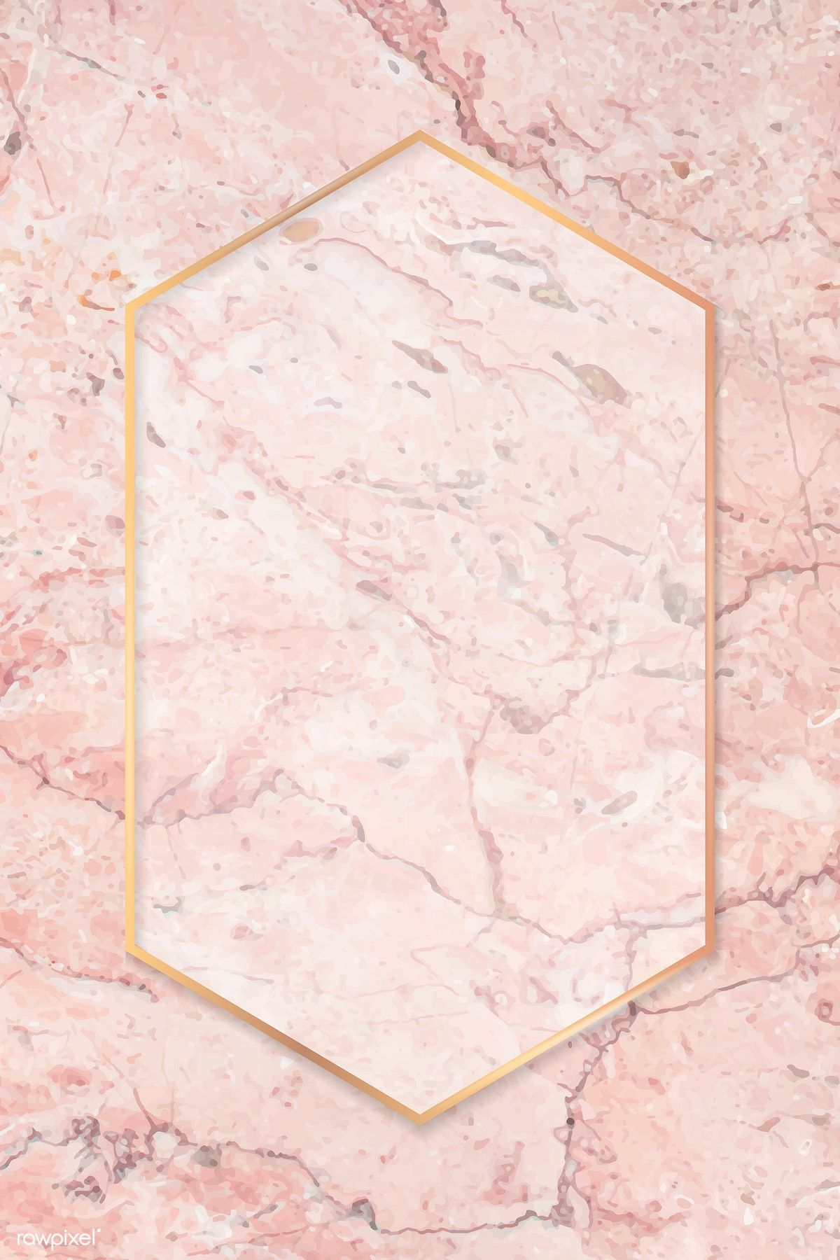 Download Premium Vector Of Hexagon Gold Frame On Pink Marble Background In 2020 Pink Marble Background Marble Background Pink Marble
