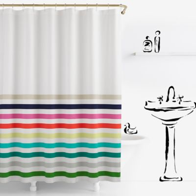 Fun And Funky The Candy Stripe Duvet Shower Curtain From Kate Spade New York Will Add A Kate Spade Shower Curtain Striped Shower Curtains Kids Shower Curtain