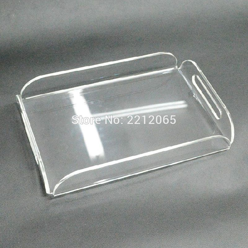 Rectangle Clear Acrylic Serving Trays with Handle for beverage.fruit.cake.toys YAT-001   Acrylic serving trays. Serving trays with handles. Fruit cake