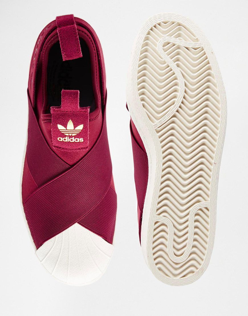 sneakers for cheap 5fc26 edd95 Image 3 of adidas Originals Superstar Burgundy Slip On Trainers