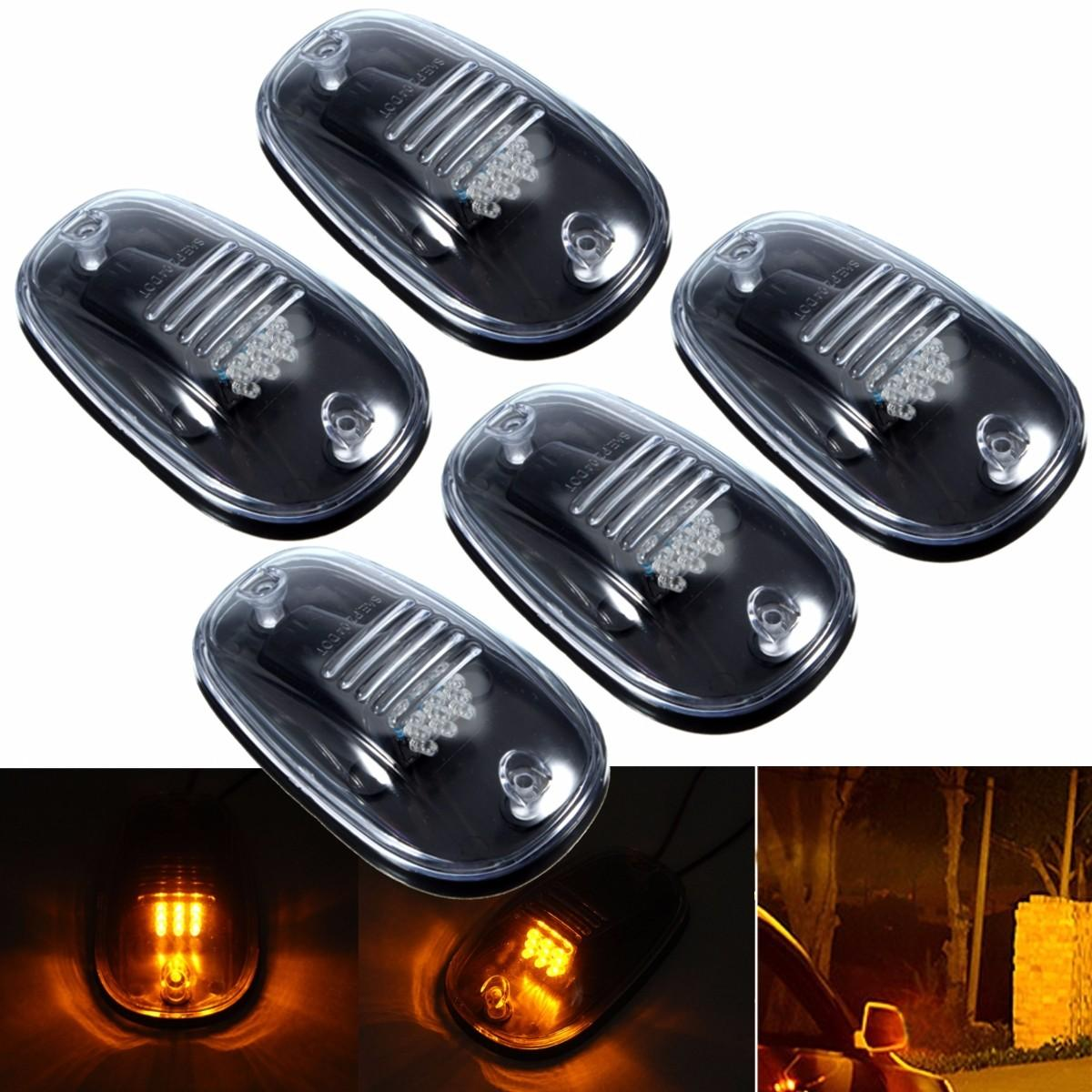 5pcs Cab Roof Top Running LED Marker Lamps Amber Light