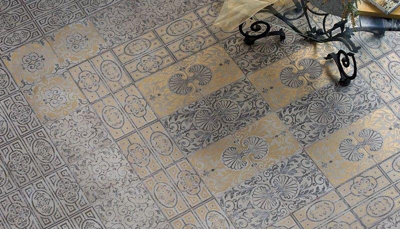 Bodenfliesen Ideen Traditionelle Muster Gold Schwarz Eco Ceramica