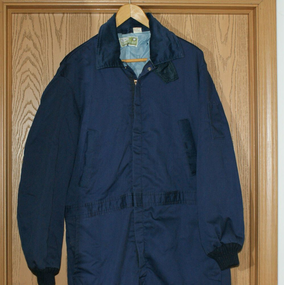 sears coveralls insulated mens size 44 blue zipper w on men s insulated coveralls with hood id=38348
